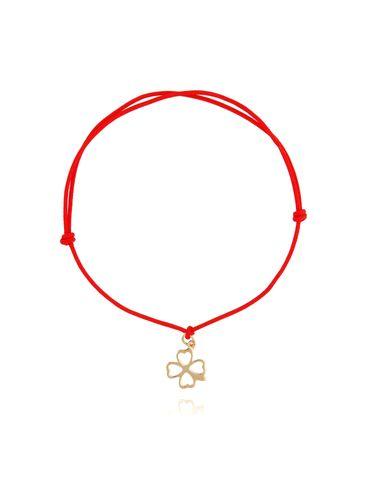Bransoletka pozłacana koniczynka na czerwonym sznurku BSE0084
