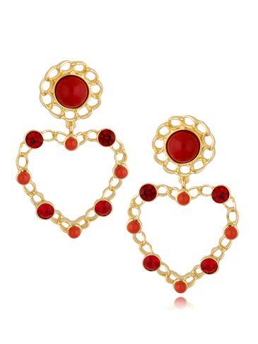 Kolczyki złote serca czerwone KPE0050