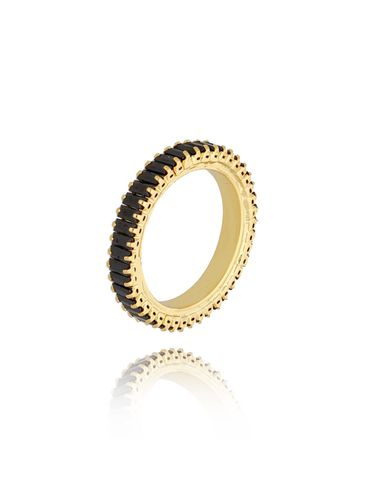 Pierścionek złoty z czarnymi kryształkami Amaris PRG0195 rozmiar 14