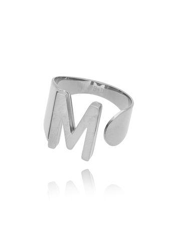 Pierścionek srebrny ze stali szlachetnej z literką M PSA0043