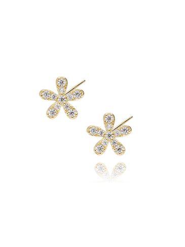 Kolczyki srebrne pozłacane kwiatki z cyrkoniami KGM0009