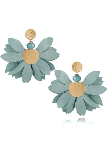 Kolczyki satynowe kwiaty miętowe KBL0537