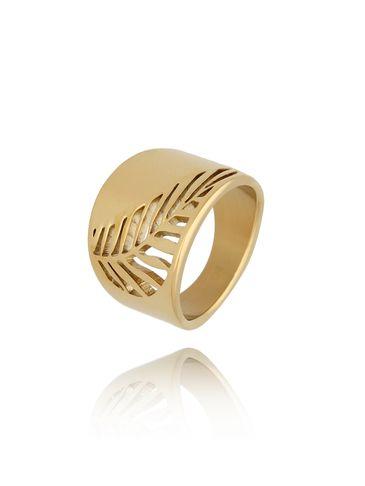 Pierścionek srebrny ze stali szlachetnej Gold Leaf PSA0183 rozmiar 14