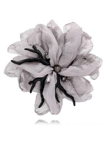 Broszka kwiat  z koralowcem szara BRBL0004