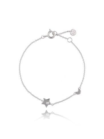 Bransoletka srebrna  gwiazdka i księżyc z cyrkonią BFA0023