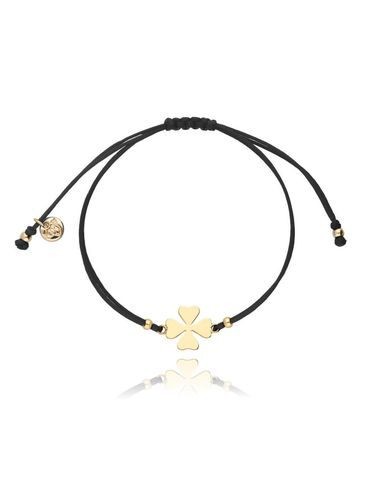 Bransoletka na sznurku czarna - złota koniczynka BGL0408