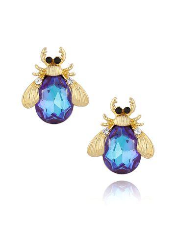 Kolczyki złote żuki z granatowymi kryształkami KMI0126
