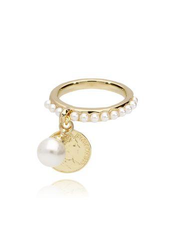 Pierścionek ze złotą monetką i perełkami PRG0047 rozmiar 15