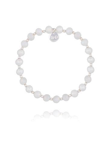 Bransoletka z białymi połyskującymi kryształkami BBL0209