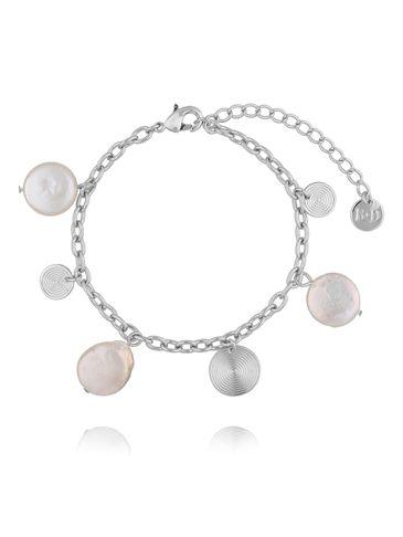 Bransoletka srebrna z perełkami i dyskami BPE0029