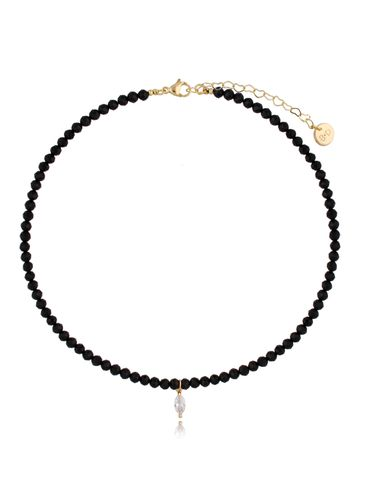 Naszyjnik czarny z kryształkiem NTW0162