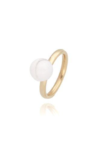 Pierścionek złoty ze stali szlachetnej z białą kulką PSA0096 Rozmiar 18