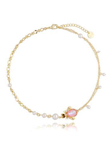 Naszyjnik żuk brzoskwiniowy z perłami NMI0105