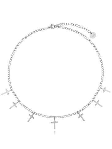 Naszyjnik srebrny ze stali szlachetnej z krzyżykami NSA0171