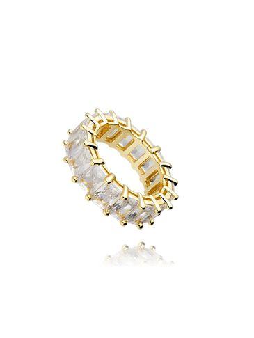 Pierścionek złoty z kryształkami PRG0056 rozmiar 12