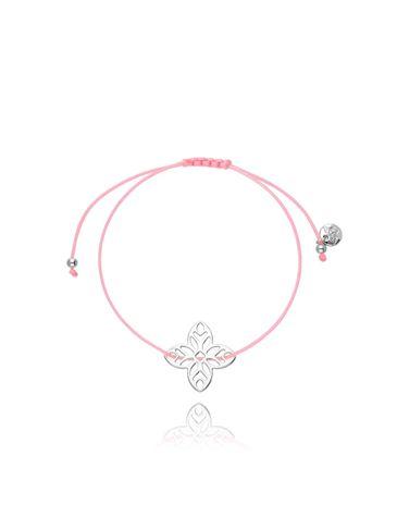 Bransoletka na sznurku różowa - kwiat BGL0385