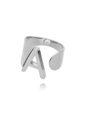 Pierścionek srebrny ze stali szlachetnej z literką A PSA0039