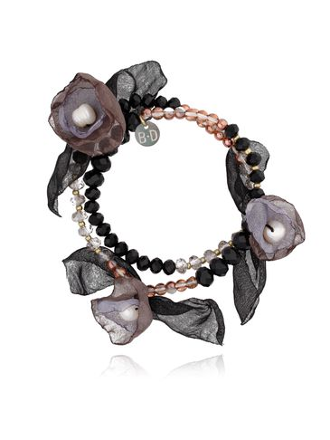 Bransoletka z kryształkami i  szaro czarnymi kwiatami  BBL0147