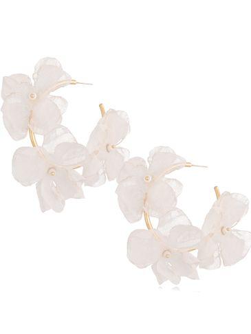 Kolczyki jedwabne kwiaty beżowe II KBL0699