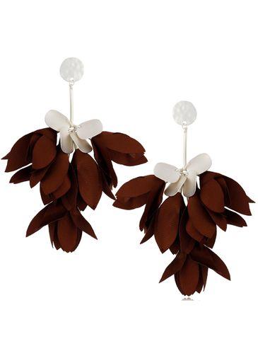 Kolczyki satynowe kwiaty brązowe KBL0523
