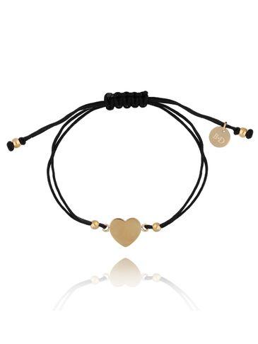 Bransoletka na czarnym sznurku z sercem BGL0461