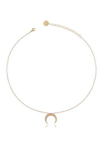 Naszyjnik złoty ze stali szlachetnej z księżycem NSA0168
