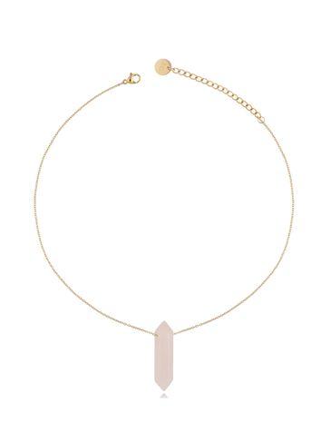 Naszyjnik z kwarcem różowym złoty 35 cm NLB0056