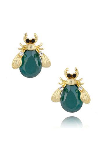 Kolczyki złote z kryształowymi chrabąszczami Green&Shine May KMI0184