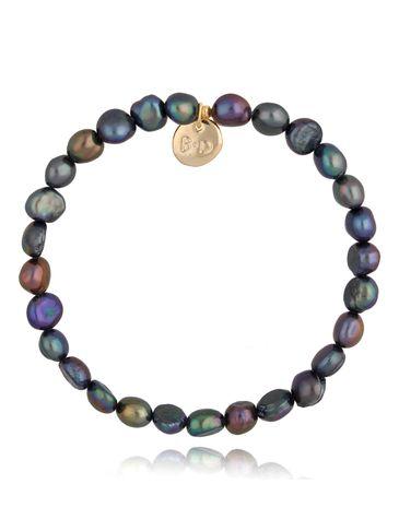 Bransoletka fioletowo-seledynowa z perłami BPE0049