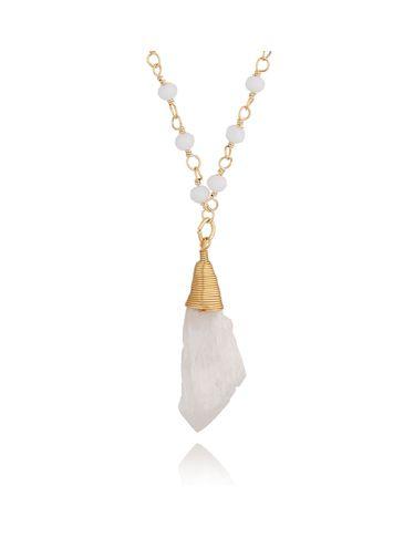 Naszyjnik z łańcuszkiem z kryształkami i kwarcem NPA0063 krótki