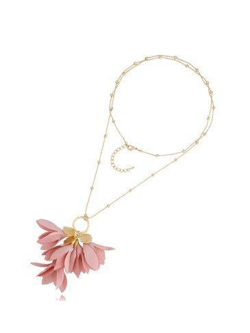 Naszyjnik złoty z kwiatem różowy NBL0020