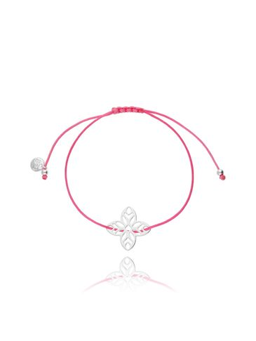 Bransoletka na sznurku różowa - kwiat BGL0394
