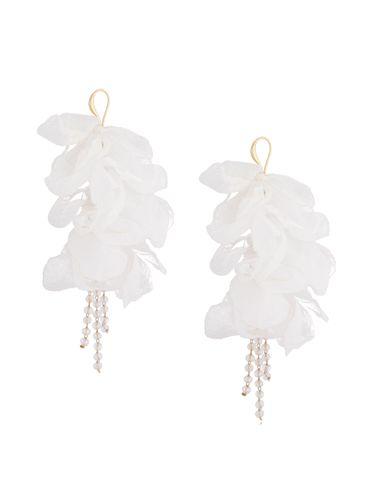 Kolczyki jedwabne kwiaty białe KBL0701