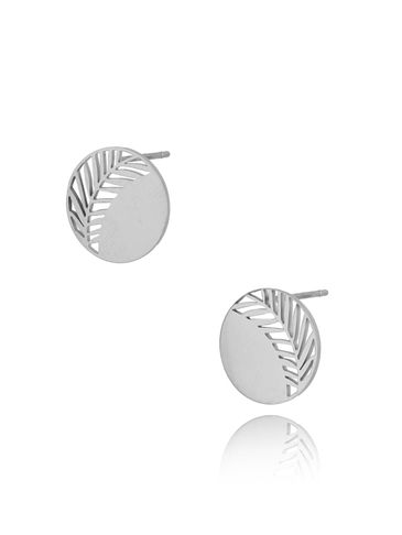 Kolczyki posrebrzane ze stali szlachetnej Little Silver Leaf KSA0282