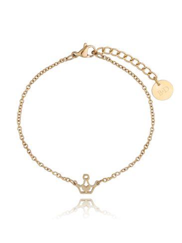 Bransoletka złota ze stali szlachetnej z koroną BSA0122