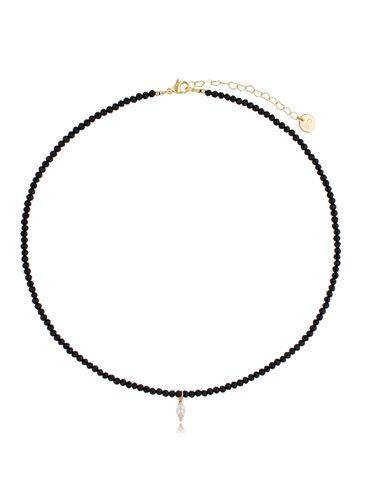 Naszyjnik czarny z agatami i zawieszką z cyrkonii NTW0187