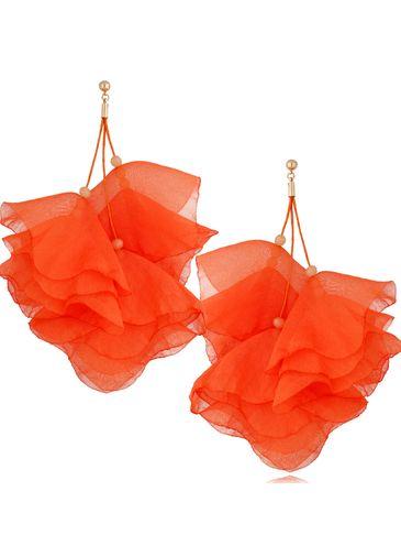 Kolczyki jedwabne kwiaty pomarańczowe KBL0841