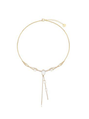 Naszyjnik  złoty ze srebrnymi kryształami  NS0018
