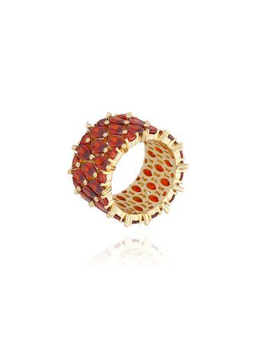 Pierścionek złoty z czerwonymi kryształkami PRG0087  rozmiar 12