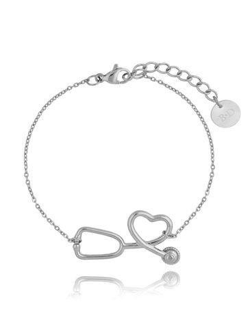 Bransoletka srebrna ze stali szlachetnej ze stetoskopem BSA0129