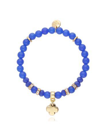 Bransoletka niebieska z jadeitem - koniczyna BMMH3856