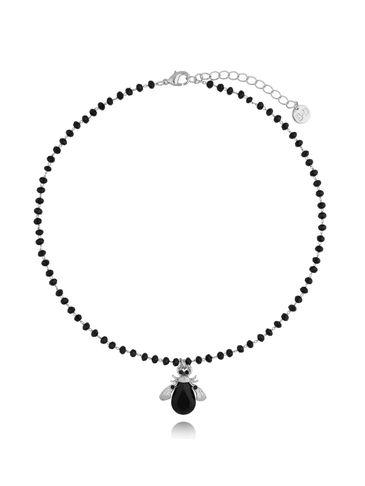 Naszyjnik żuk z czarnym kryształem NMI0077