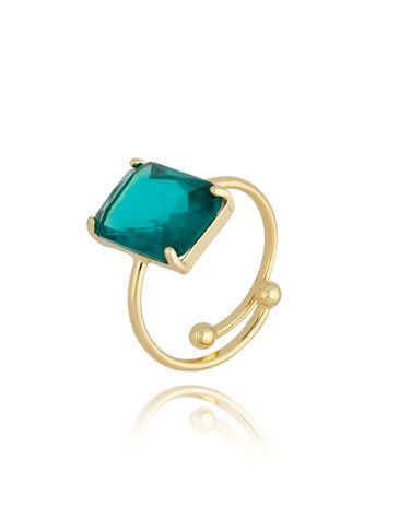 Pierścionek złoty z zielonym kryształowym oczkiem PTO0013