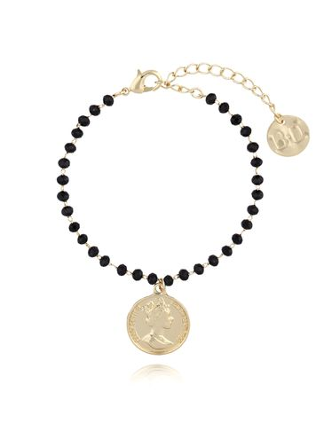 Bransoletka złota z kryształkami i monetą BRG0109
