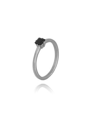 Pierścionek srebrny ze stali szlachetnej z czarnym kryształkiem PSA0067 R 15