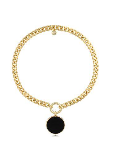 Naszyjnik złoty z czarną zawieszką Bella NTO0012