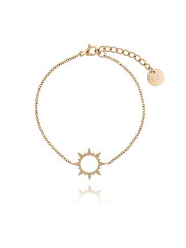 Bransoletka złota ze słońcem ze stali szlachetnej BSA0092
