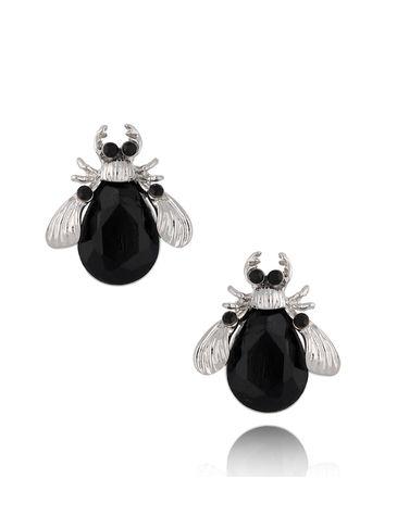 Kolczyki srebrne żuki z czarnymi  kryształkami KMI0139