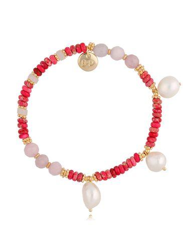 Bransoletka z różowymi jaspisami i perłami Sunset BPA0089