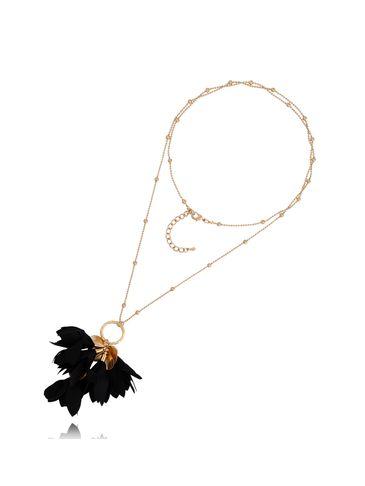 Naszyjnik złoty z kwiatem czarny NBL0027